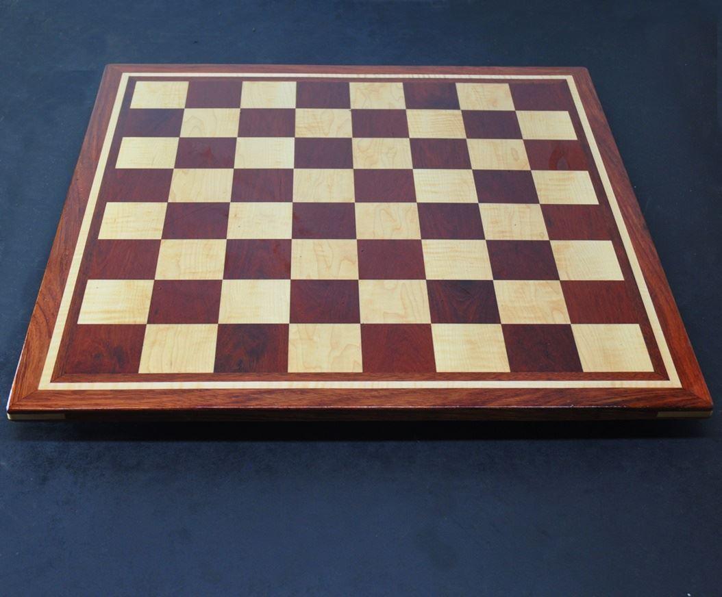 Bloodwood, Bubinga, Maple -inlay frame- tournament size chess board image(2)
