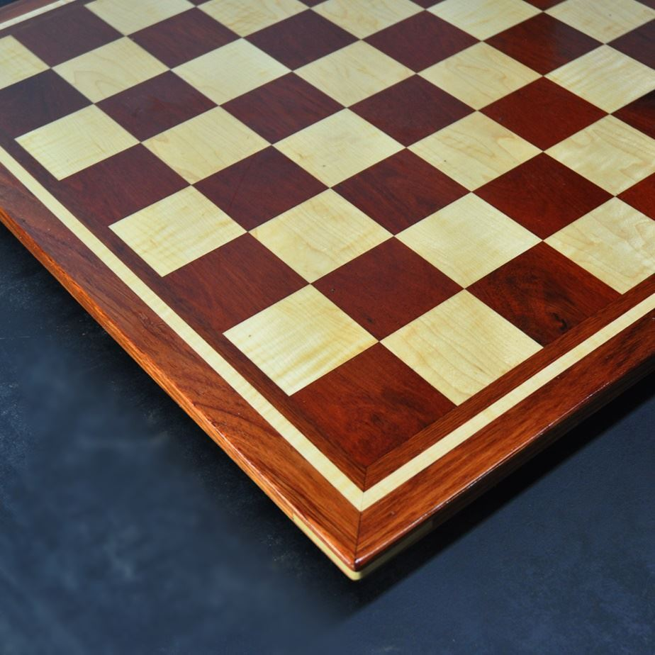 Bloodwood, Bubinga, Maple -inlay frame- tournament size chess board image(4)