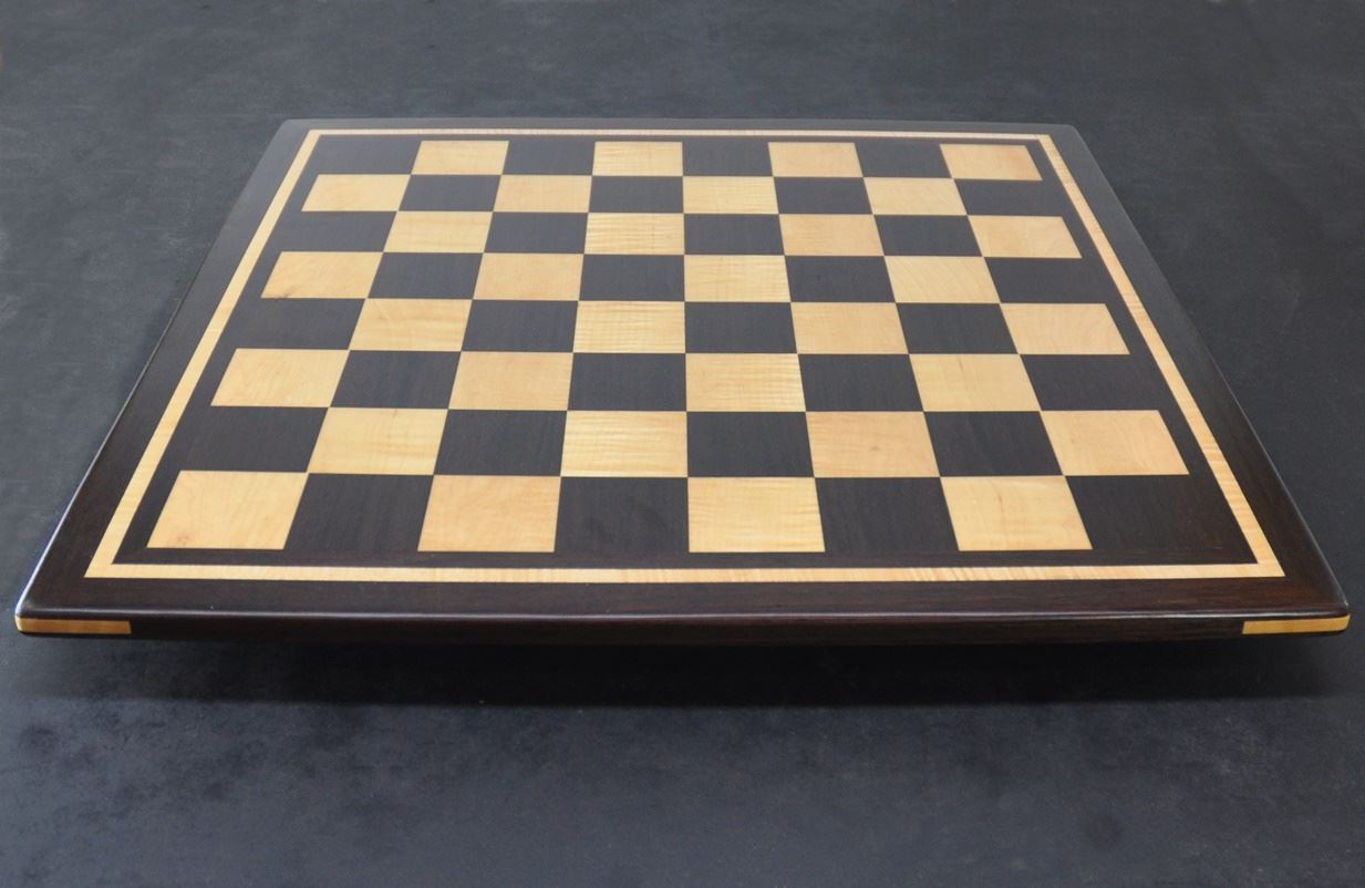 Peruvian Walnut - Maple Chess board with curly maple inlay frame -2¼ inch squares image (3)