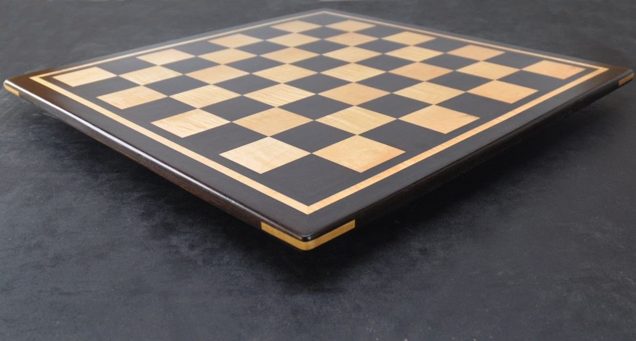 Peruvian Walnut - Maple Chess board with curly maple inlay frame -2¼ inch squares image (4)
