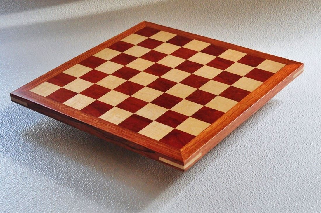 Bloodwood and maple Chess board with Bubinga Frame 1.5 inch squares image 2