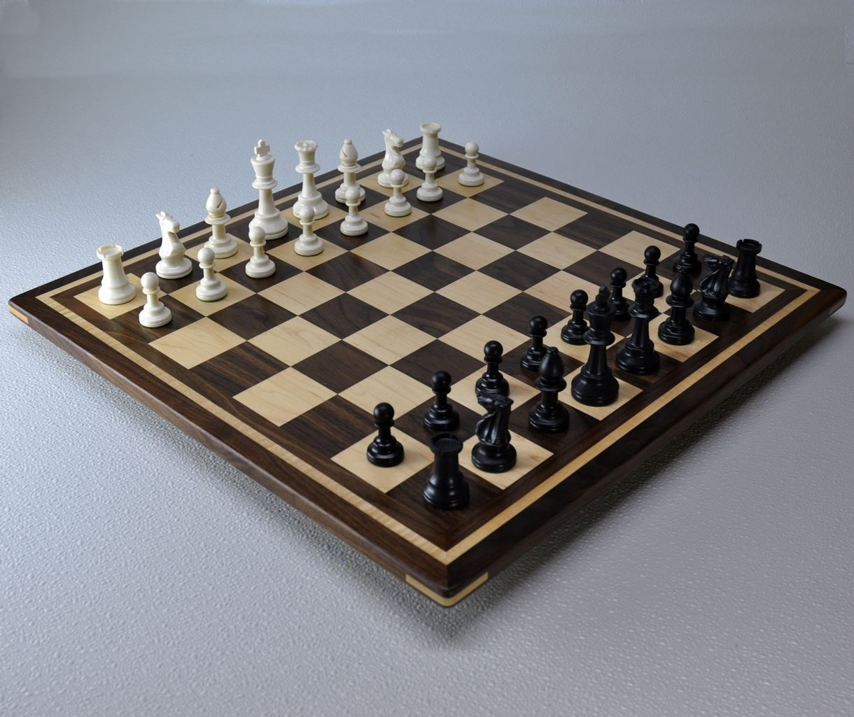 Walnut and Maple Chess Board with Curly Maple inlay frame image 2