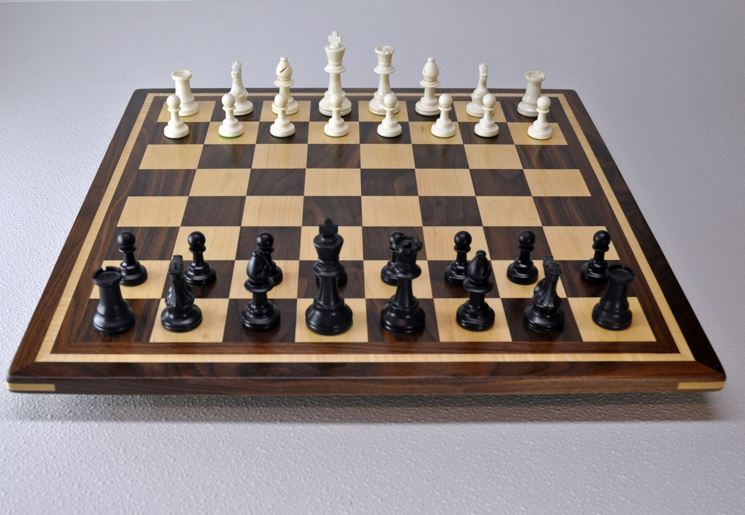 Walnut and Maple Chess Board with Curly Maple inlay frame image 3