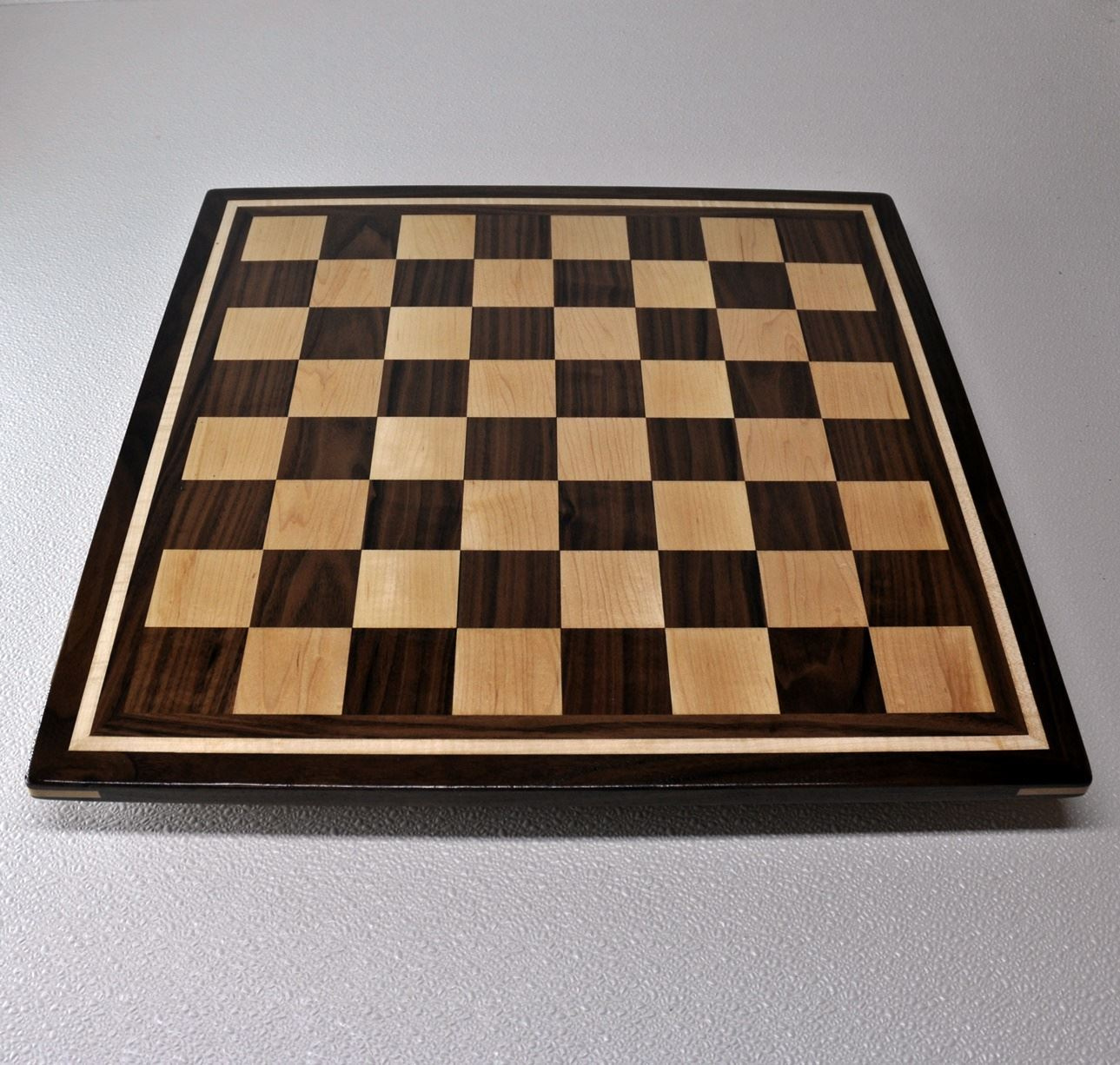Walnut and Maple Chess Board with Curly Maple inlay frame image 4