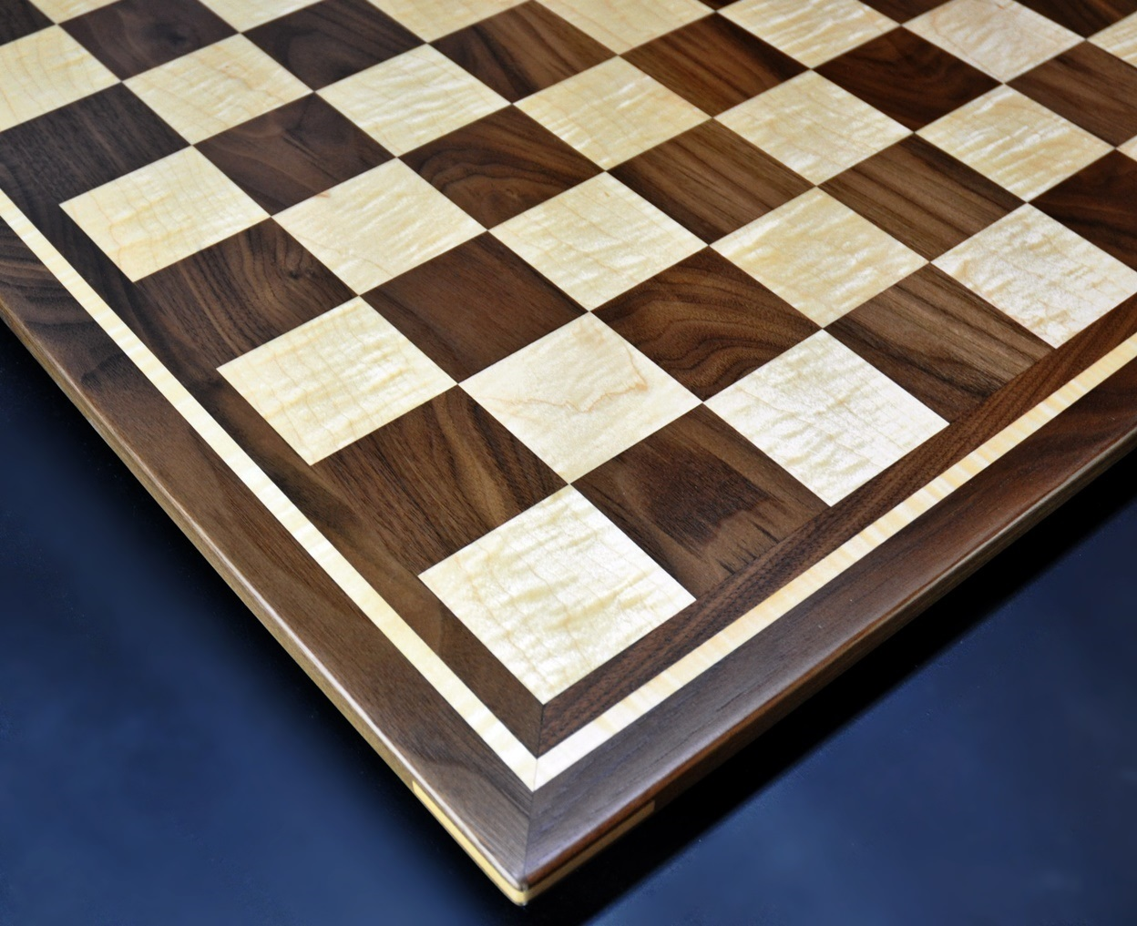 Curly maple and Walnut Chess board by Sweet Hill Wood image 2