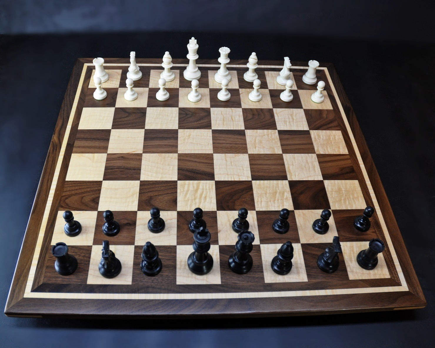 Curly maple and Walnut Chess board by Sweet Hill Wood image 3