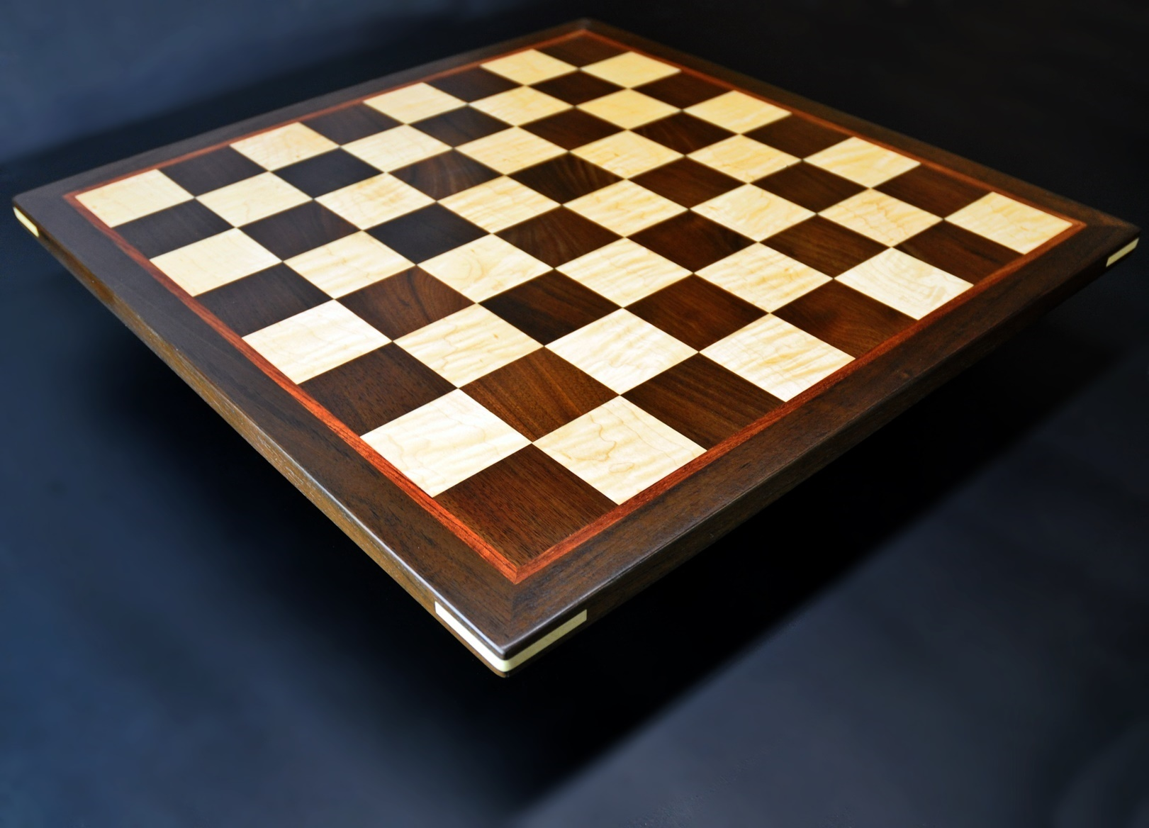 Peruvian Walnut and Maple Chess board with Bubinga border-2 inch squares image 2