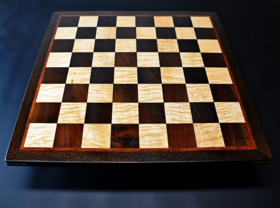 Peruvian Walnut and Maple Chess board with Bubinga border-2 inch squares image 1