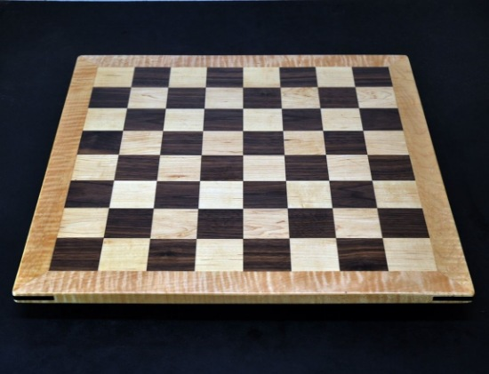 Walnut and Maple Chess Board with Curly Maple Frame image 3