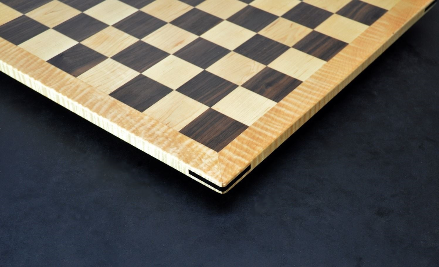 Walnut and Maple Chess Board with Curly Maple Frame image 4