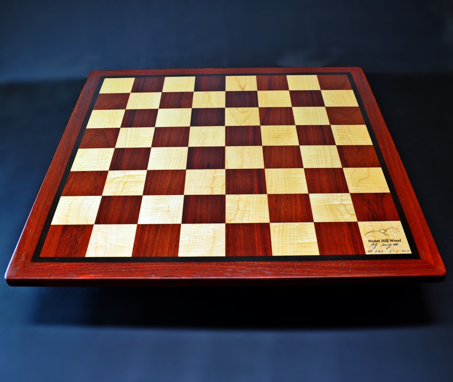 Padauk and Maple Chessboard 2½ inch squares and Wenge border image 4