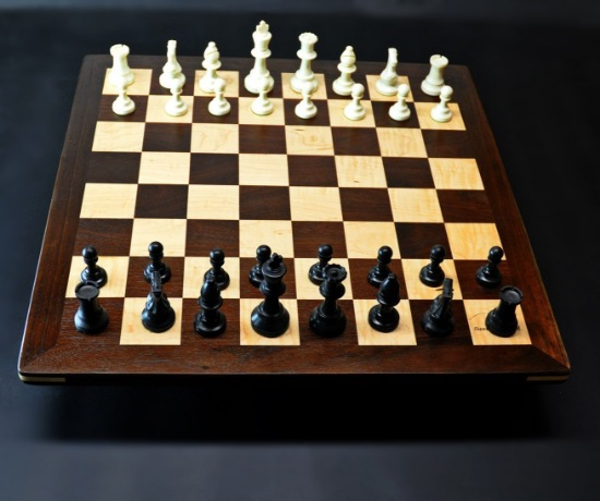 Peruvian Walnut and Maple Chess board with -2 inch squares img 1