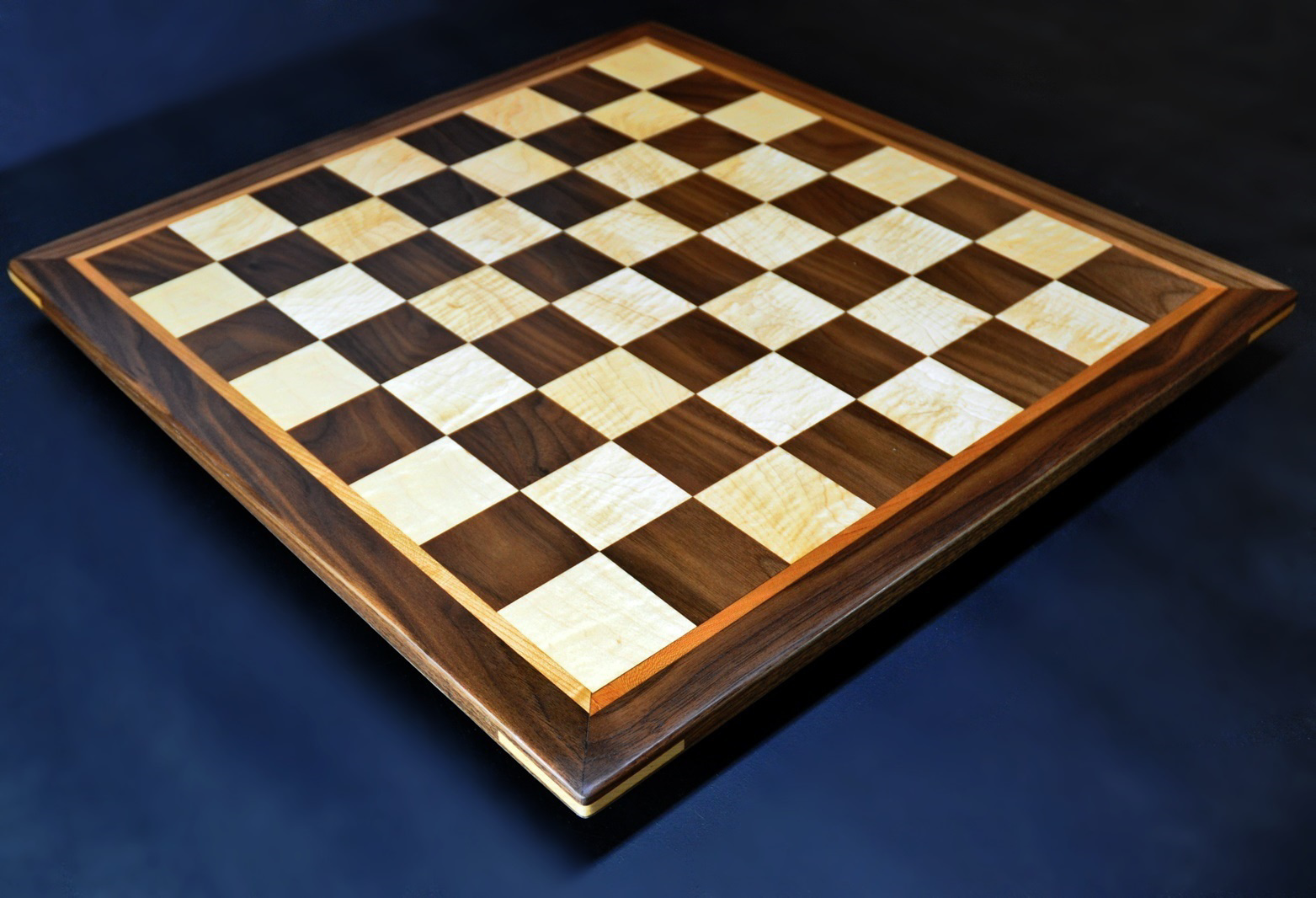 "Walnut and maple Chess board 2.25"" squares with Cherry delimiter and Walnut frame image 2"