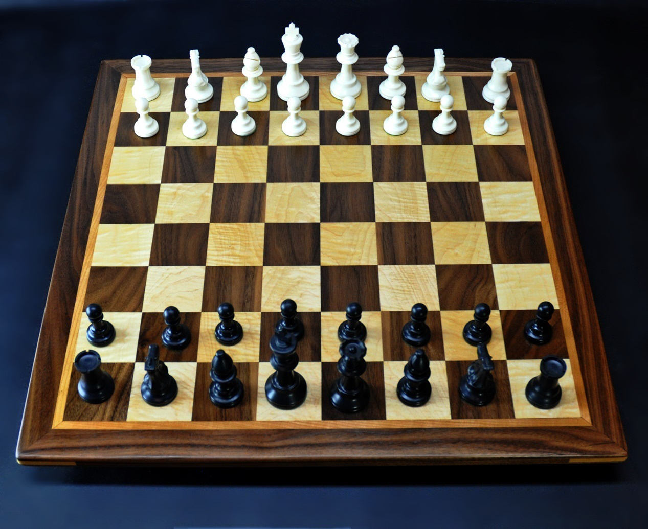 "Walnut and maple Chess board 2.25"" squares with Cherry delimiter and Walnut frame image 3"