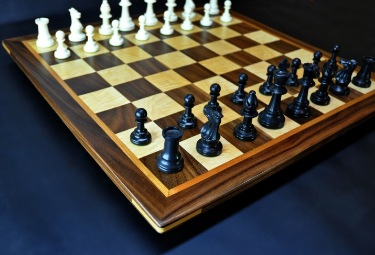 "Walnut and maple Chess board 2.25"" squares with Cherry delimiter and Walnut frame image 4"