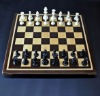 Peruvian Walnut and Maple Chess Board with Curly Maple detail frame 2 inch squares image 1