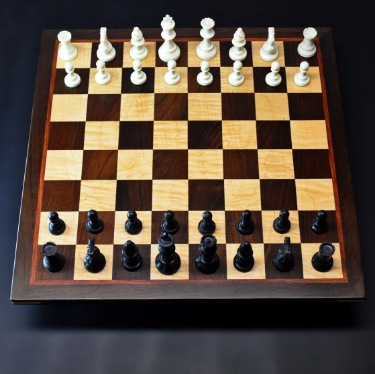Peruvian Walnut and Maple Chess board with Bubinga delimiter -2½ inch squares image 1
