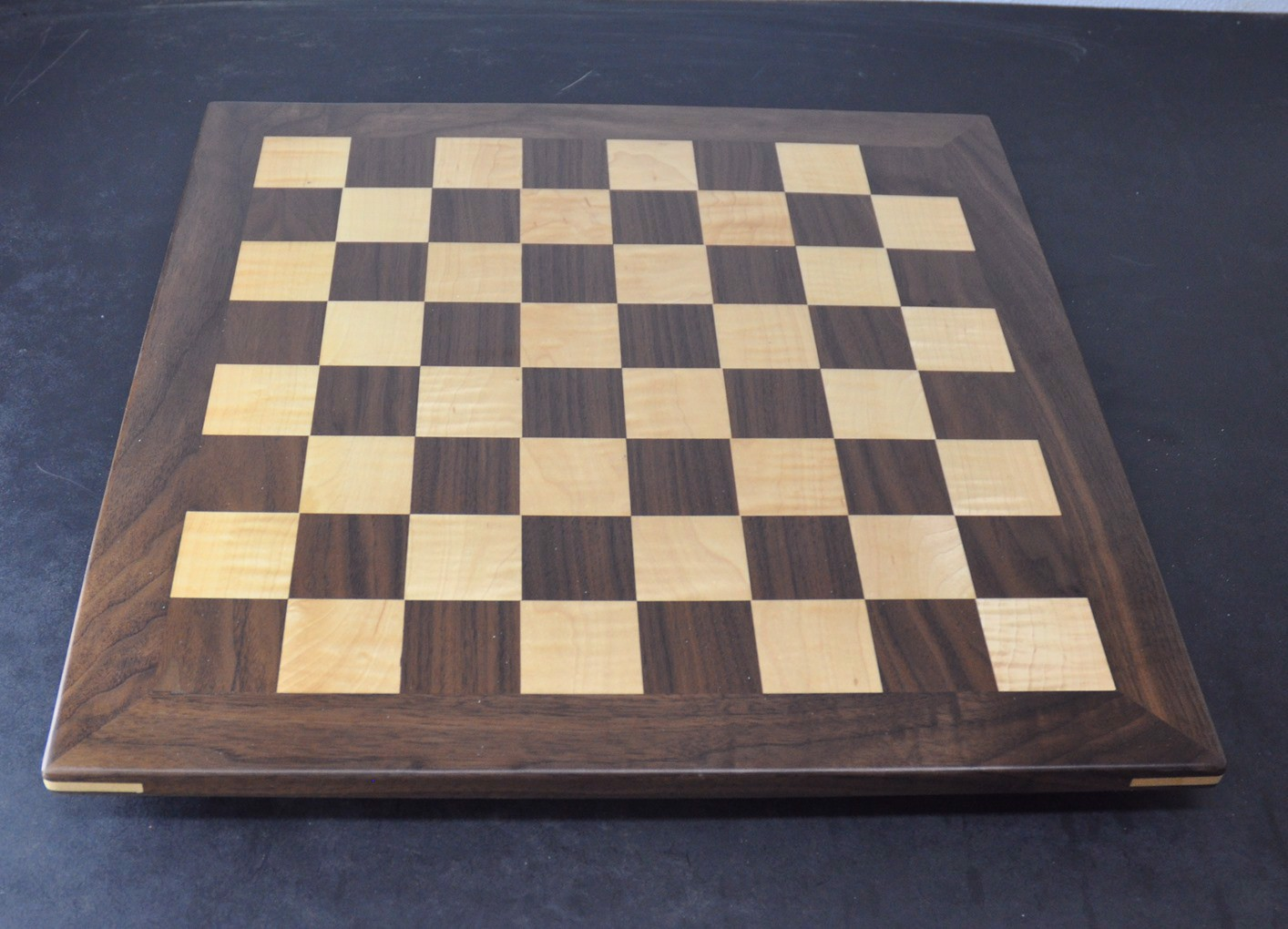 Walnut and Curl Maple Chess board with 2 inch squares