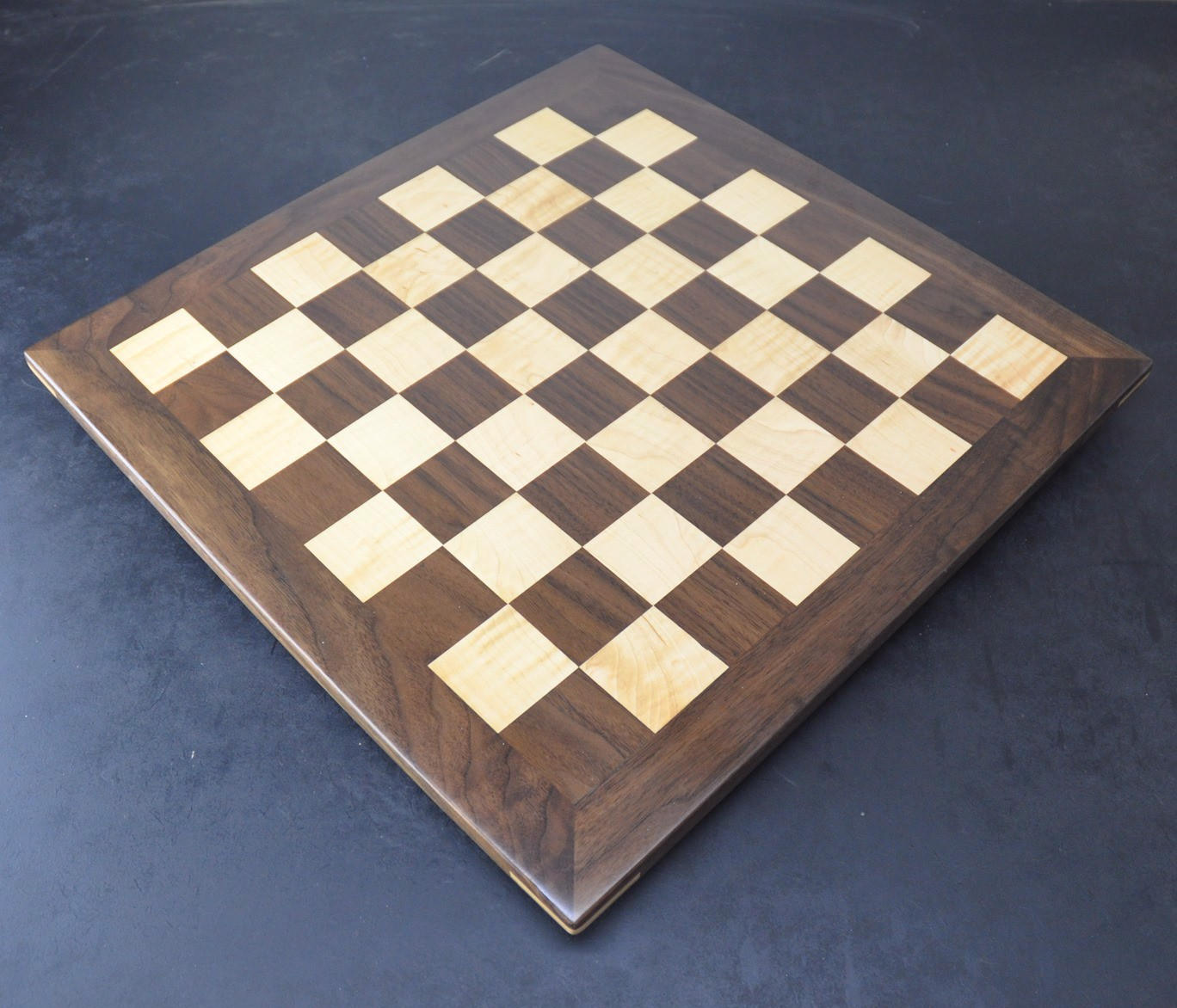 Walnut and Curl Maple Chess board with 2 inch squares image 2