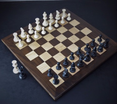 Walnut and Curl Maple Chess board with 2 inch squares image 3