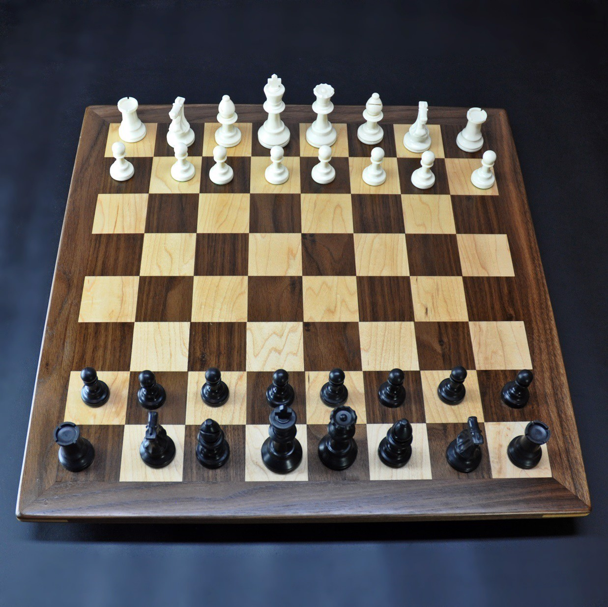 Walnut and Maple Chessboard with Walnut Frame image 1