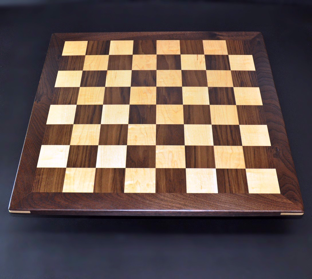 Walnut and Maple Chessboard with Walnut Frame image 5