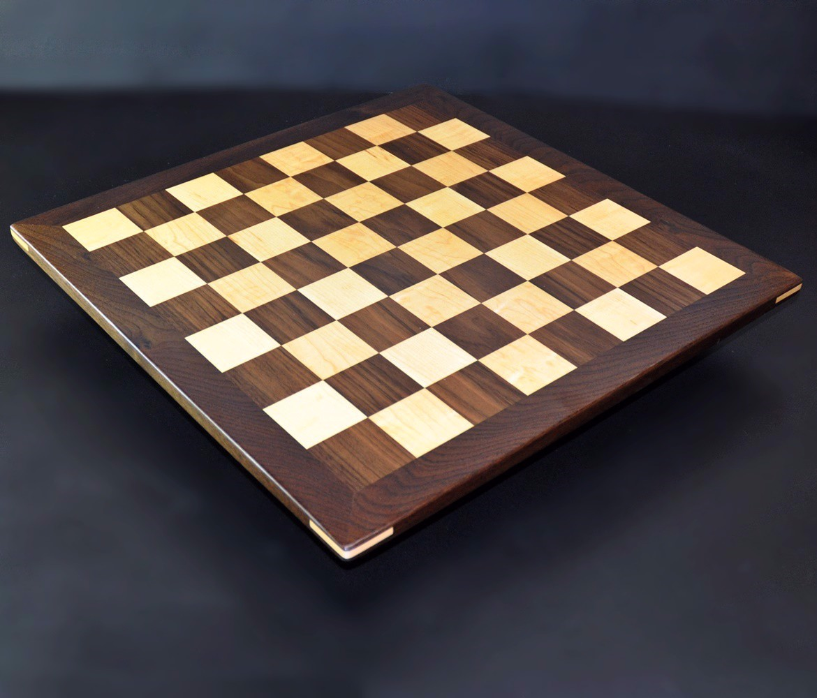 Walnut and Maple Chessboard with Walnut Frame image 6