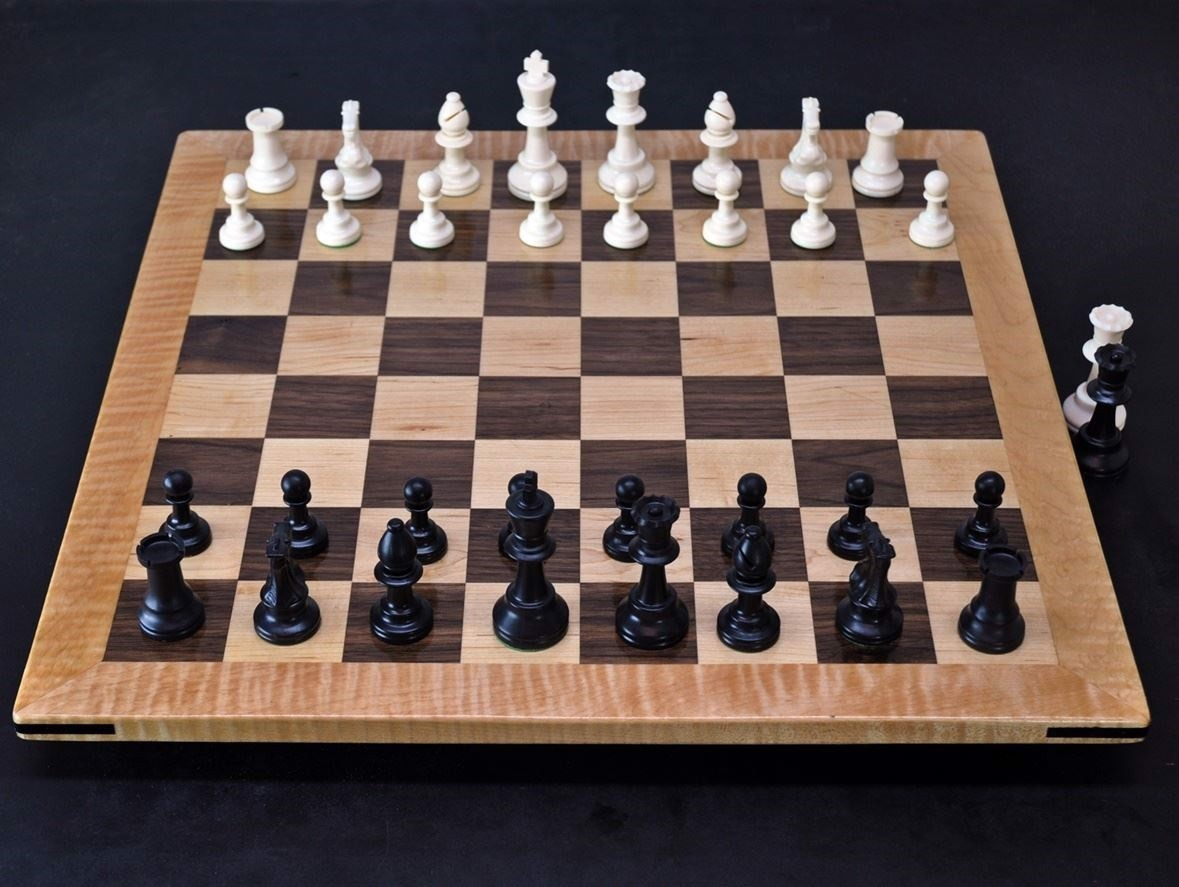 Walnut and Maple Chess Board with Curly Maple Frame image 1