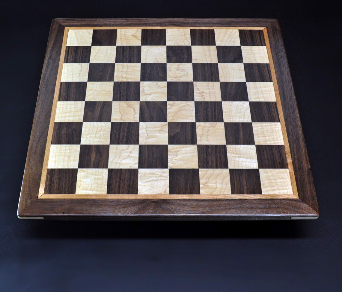 Walnut and Maple Chess Board with Walnut-Cherry Frame 2 inch squares image 1