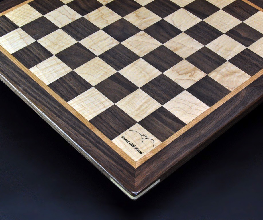 Walnut and Maple Chess Board with Walnut-Cherry Frame 2 inch squares image 2