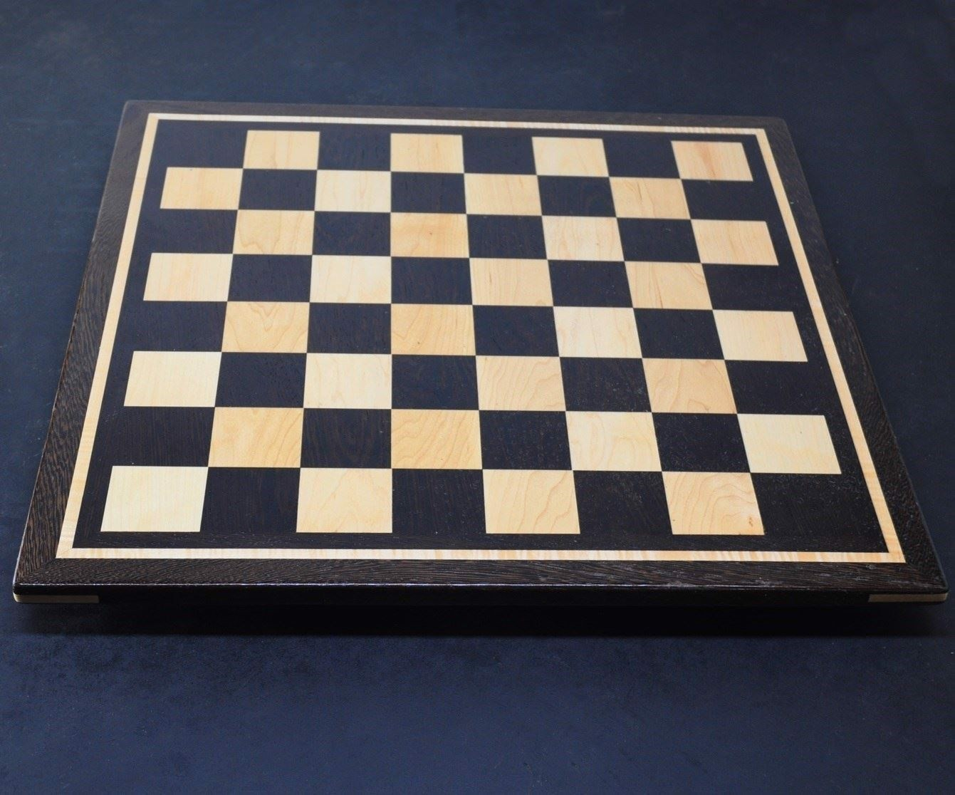 Picture of Wenge Chess Board with 2.8 inch squares and curly Maple inlay frame