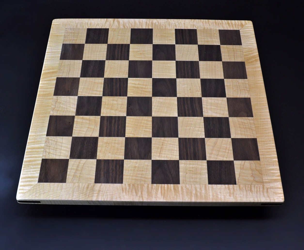 Walnut and Maple Chess Board with Curly Maple Frame 2 inch squares image 1