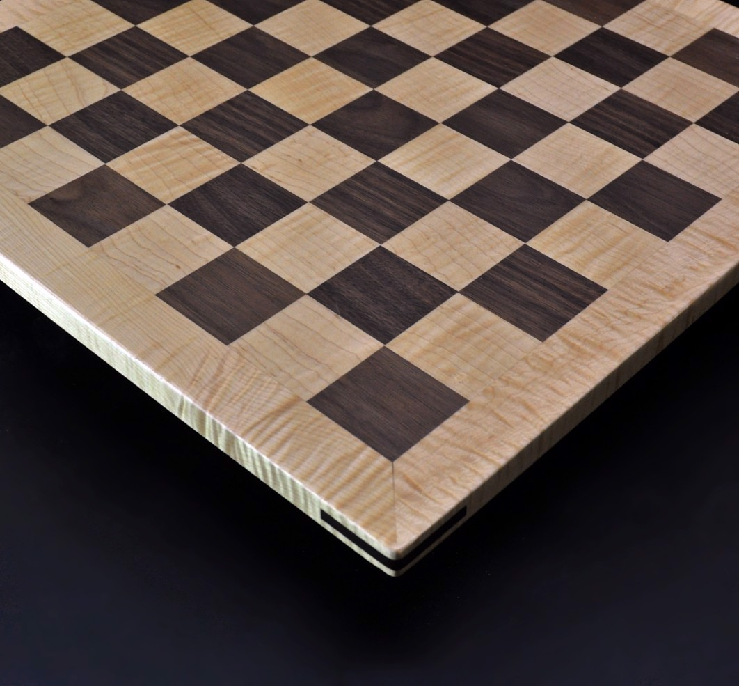 Walnut and Maple Chess Board with Curly Maple Frame 2 inch squares image 2