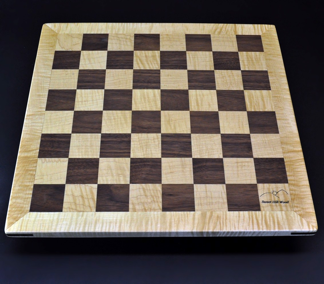 Walnut and Maple Chess Board with Curly Maple Frame 2 inch squares image 3