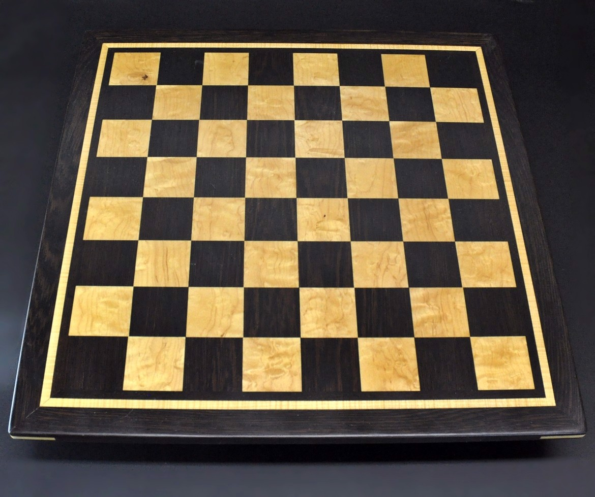 Wenge and Curly Maple Chess Board with inlay frame image 1
