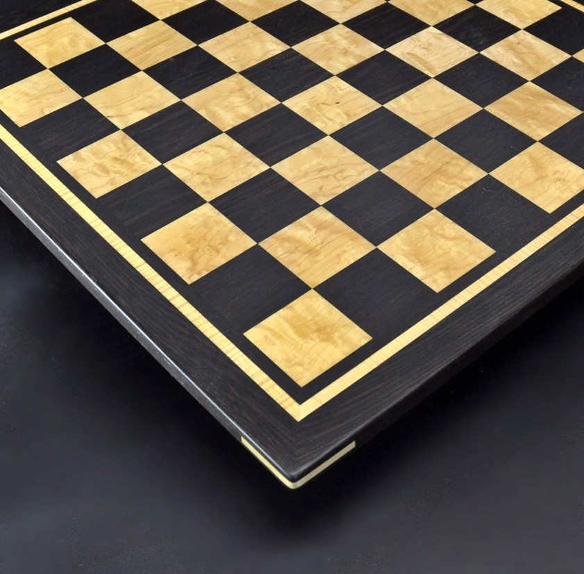 Wenge and Curly Maple Chess Board with inlay frame image 2