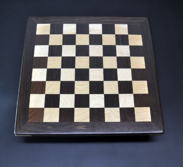 peruvian walnut and curly maple chess board 14 inch image 1