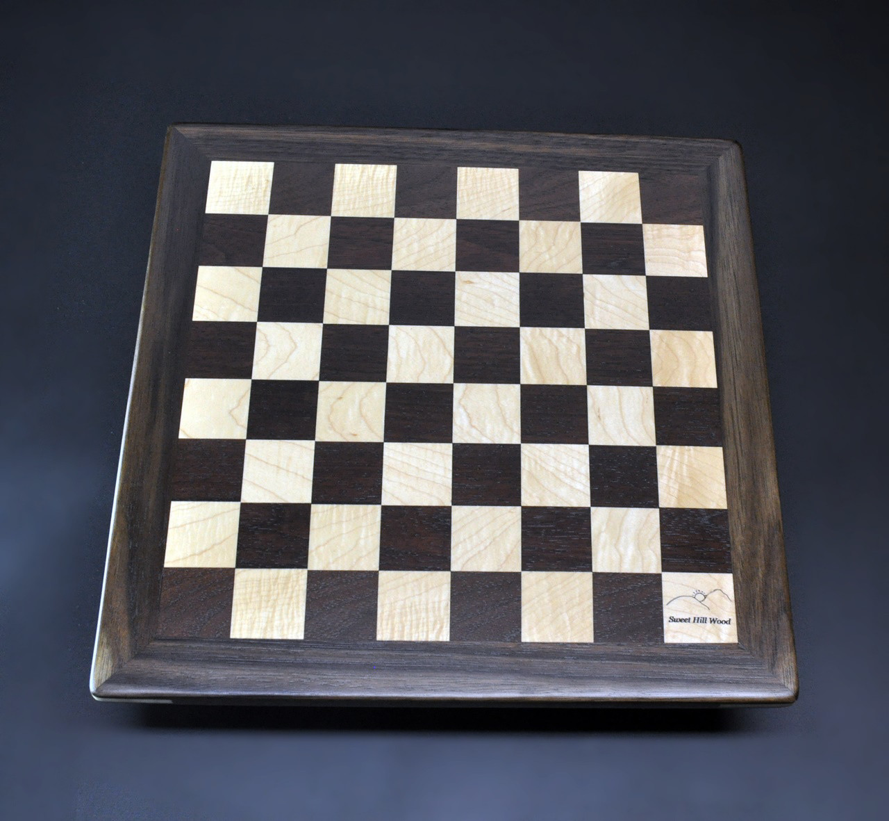peruvian walnut and curly maple chess board 14 inch image 2