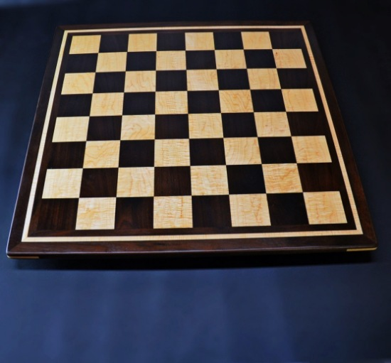 Peruvian Walnut and Curly Maple Chess board with inlay frame -2½ inch squares image 1