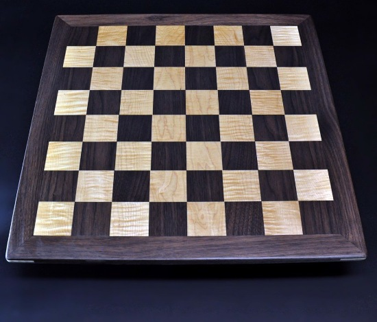 Walnut and Curly Maple Chess Board with Simple Walnut Frame image 1