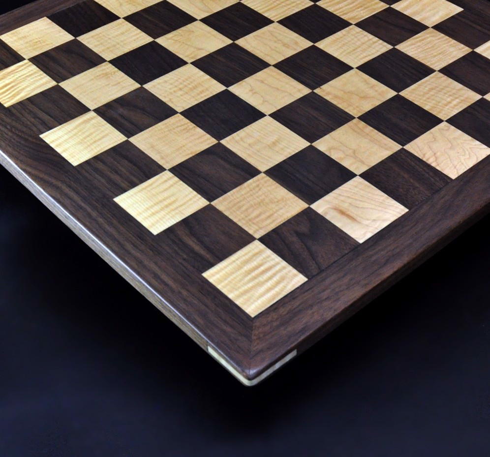 Walnut and Curly Maple Chess Board with Simple Walnut Frame image 4