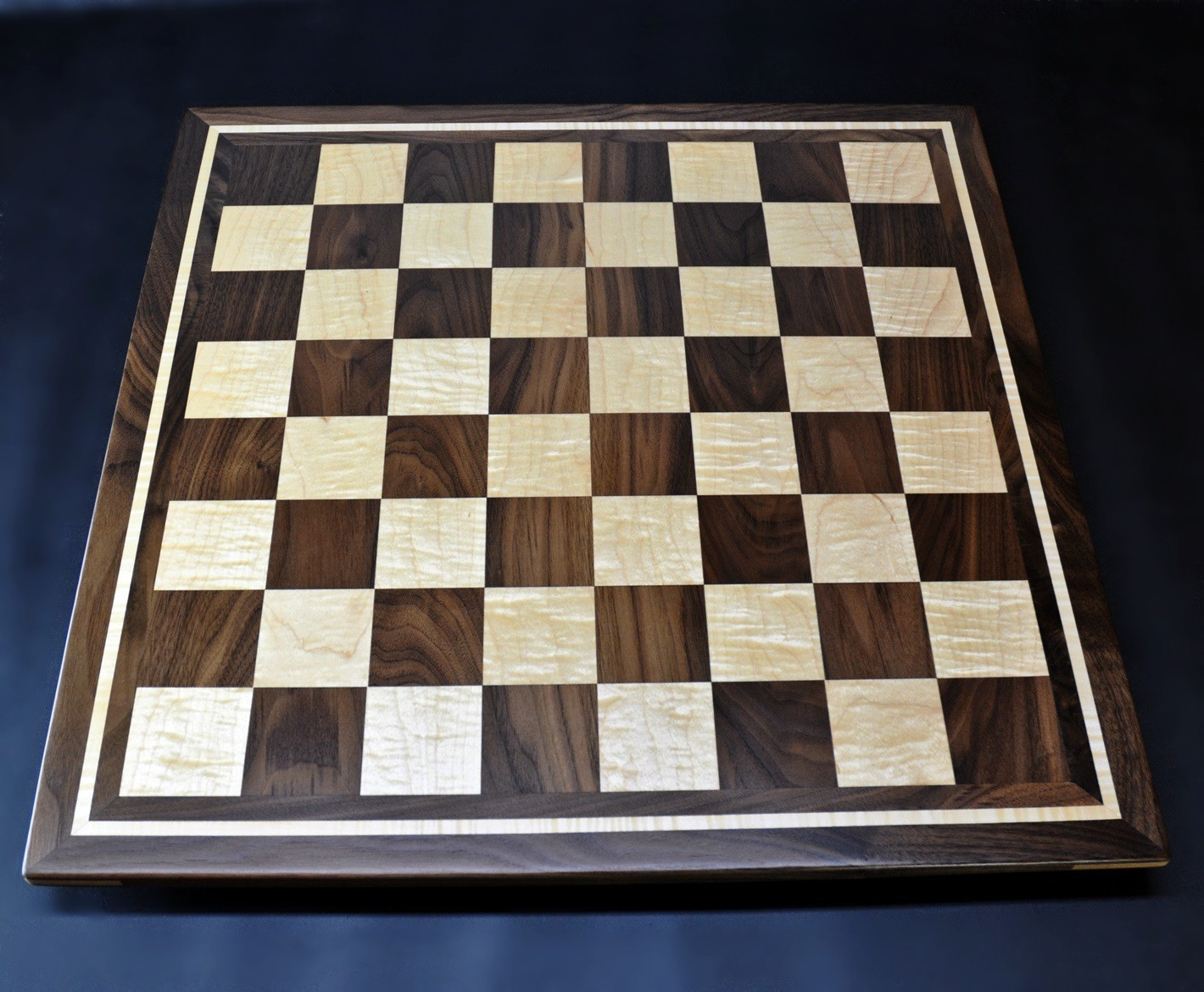 Curly maple and Walnut Chess board by Sweet Hill Wood image 1