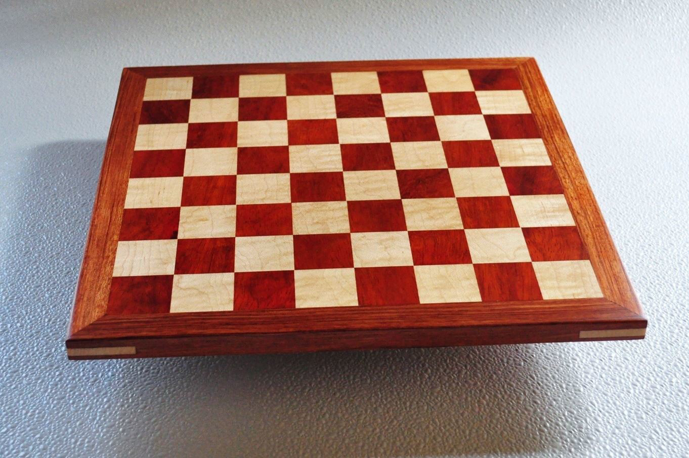 Bloodwood and maple Chess board with Bubinga Frame 1.57 inch squares image 1